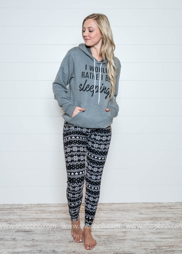 These snowflake with heart patterned leggings are great for lounging around this Winter.