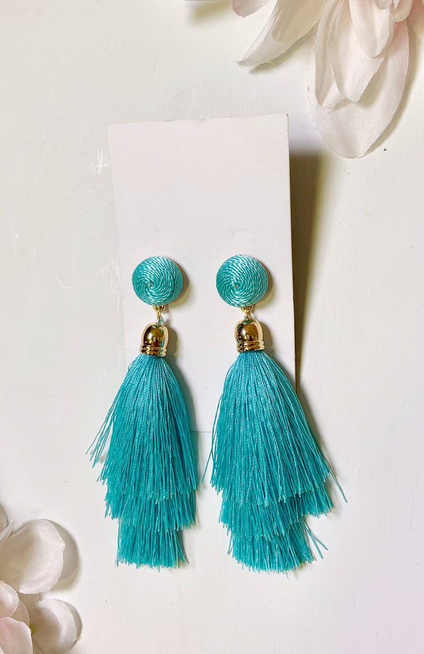 mint circle and fringe earrings