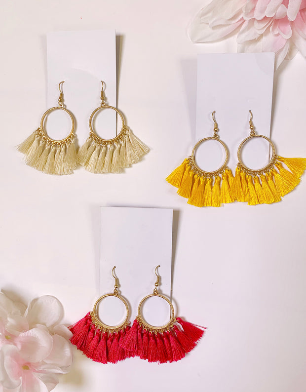 gold fringe earrings in natural yellow magenta