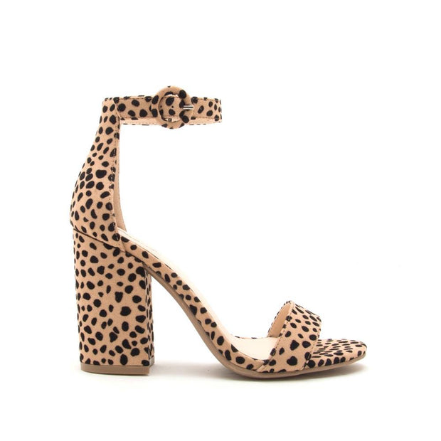 Qupid Lake-01 Nude leopard sandal heel is a stylish way to dress for a night out.