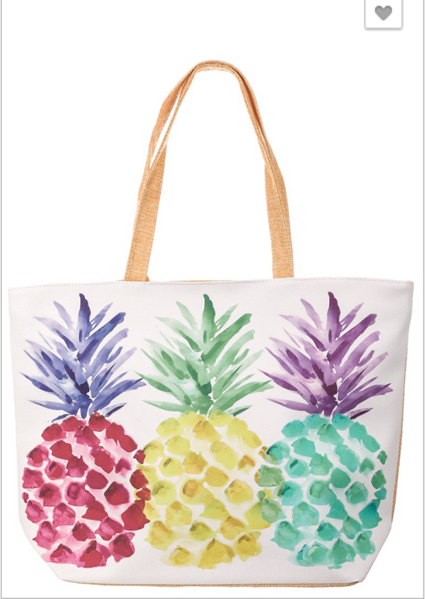 Colorful Pineapple Beach Tote, handbag, ANARCHY STREET, BAD HABIT BOUTIQUE