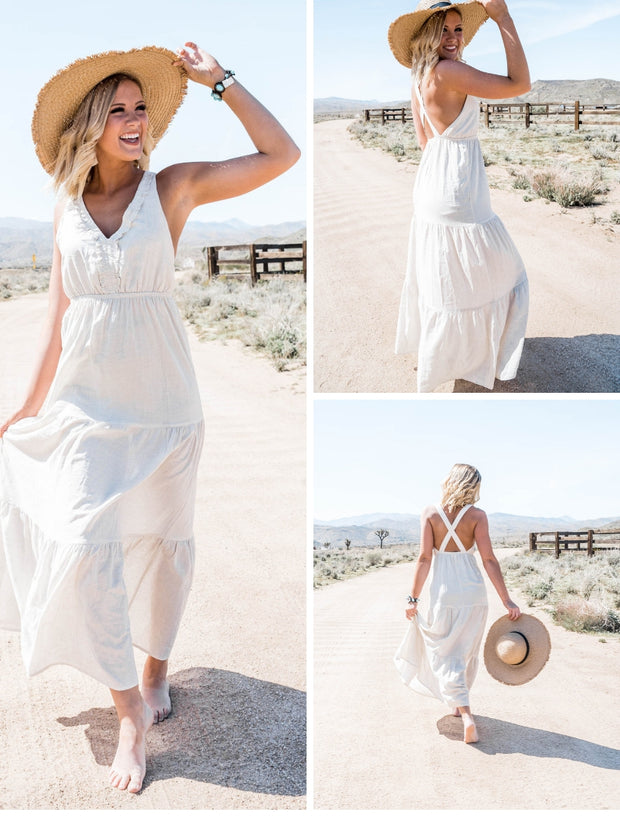 this khaki colored tier maxi dress is darling
