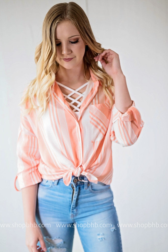 Striped Button Up Top | Salmon