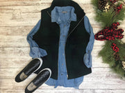 Denim Button Up Top- Medium Wash, TOPS, Be Cool, badhabitboutique