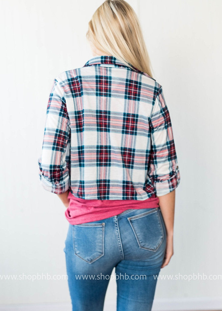 Front Tie Plaid Shirt | White, SALE, Clothing of America, badhabitboutique