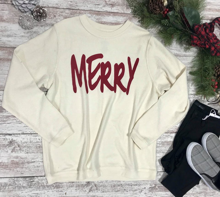 This corduroy thermal over sized top is all about the Merry this year...with the Merry words in red!