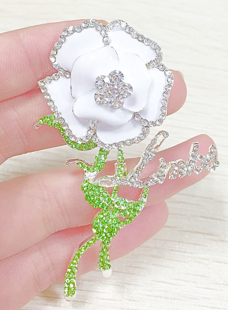 "Beautiful LINKS White Rose of Elegance Crystal Brooch ""High End""  (NEW)"