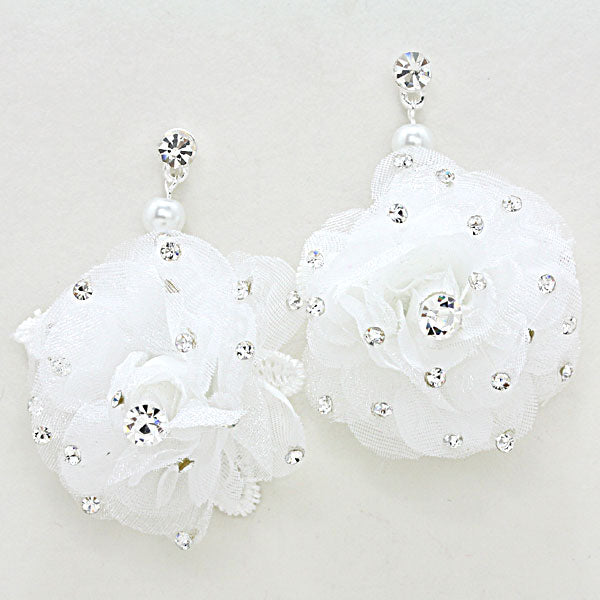 Beautiful White Rose Crystal Earrings.  PERFECT GIFT