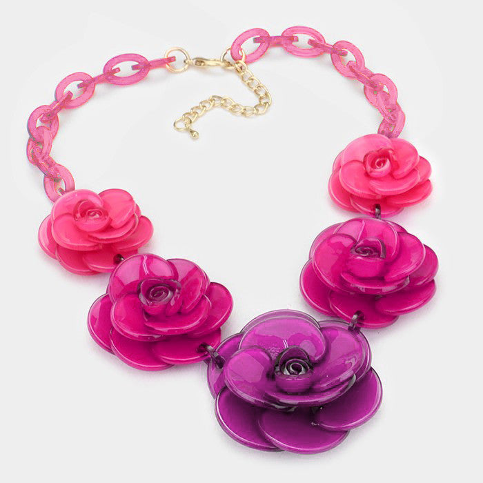 "Beautiful Pink or Green Roses Necklace Set ""New"""
