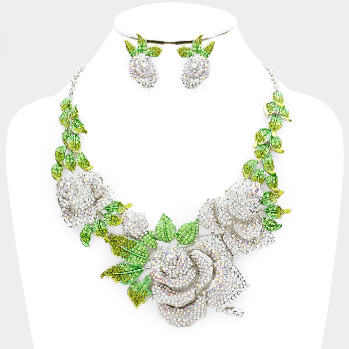 The Beautiful Swarovski Crystal Rose Necklace with Matching Earrings (High End)