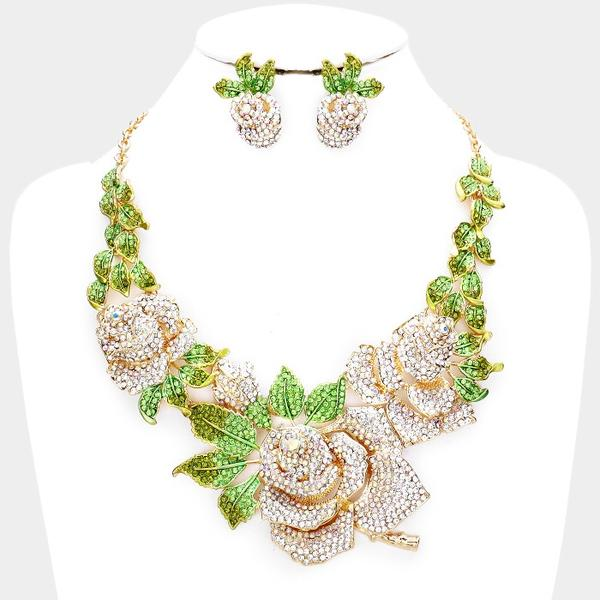 "Swarovski Crystal Rose Necklace with Green Leaves with Earrings Set ""Limited Edition"""