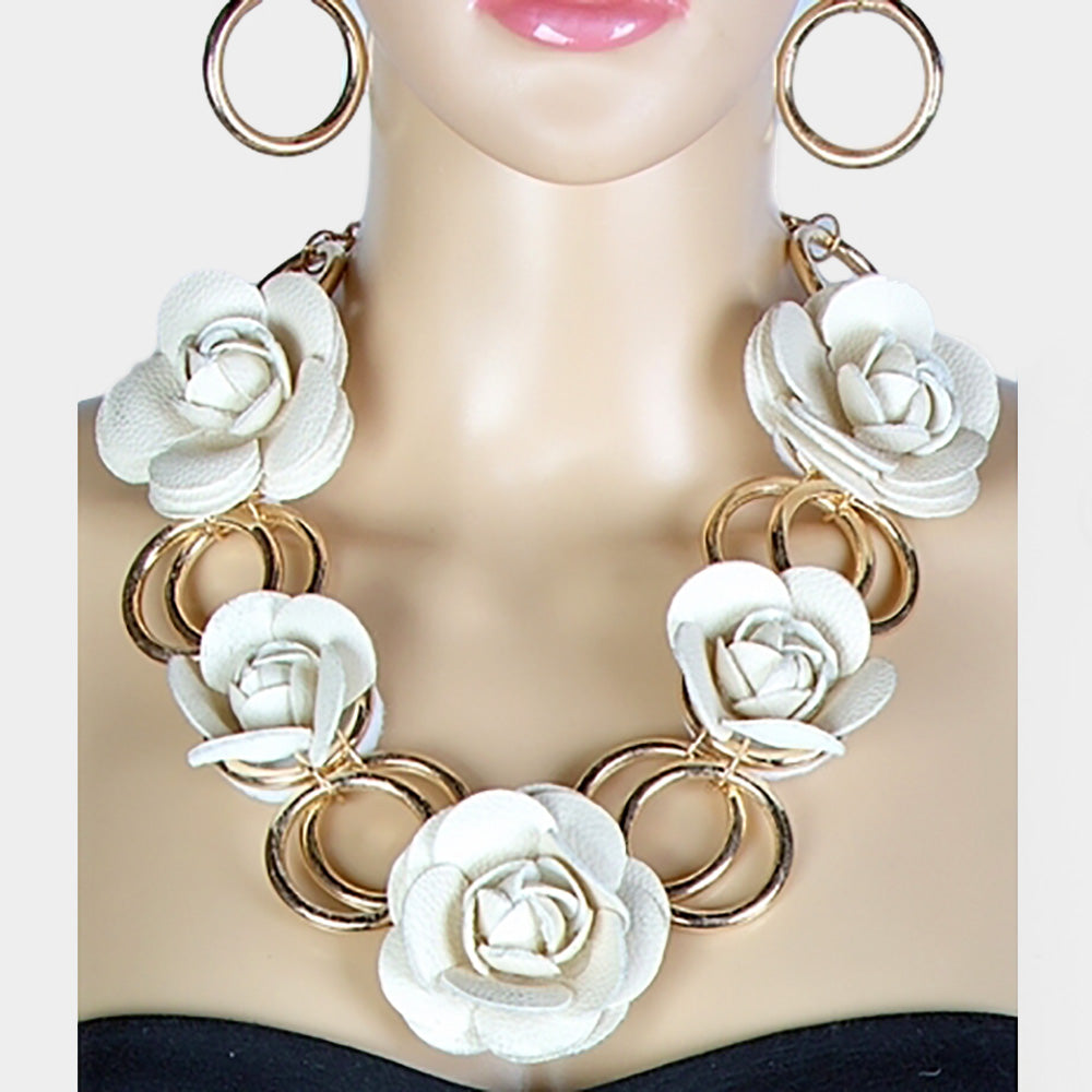 Beautiful White Faux Leather Rose Bib Necklace, New for 2019