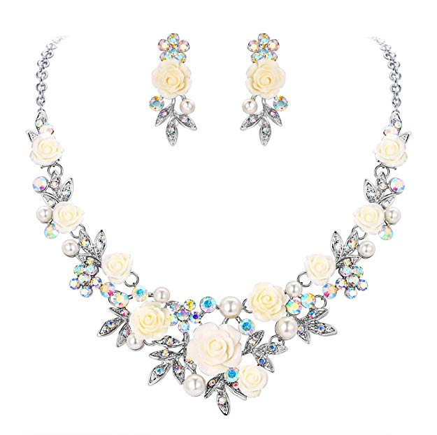 Beautiful Austrian Crystal Pearl White Rose Necklace Earrings Set, New 2019