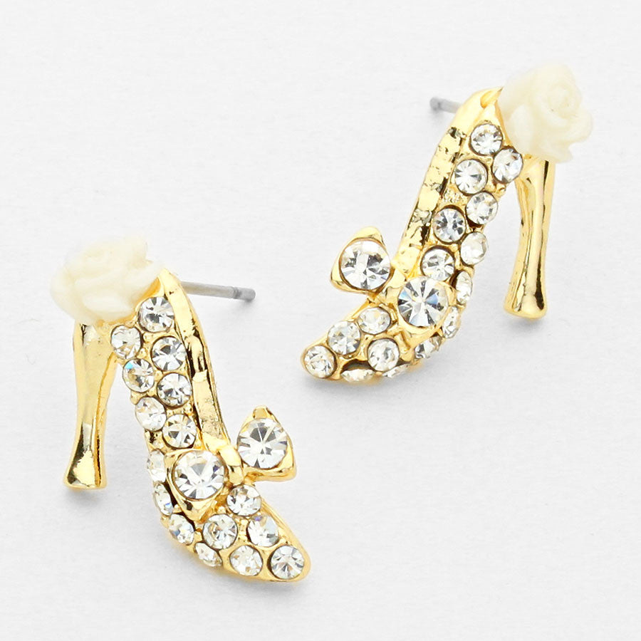 Crystal Rose Stiletto Shoe Earrings (NEW)