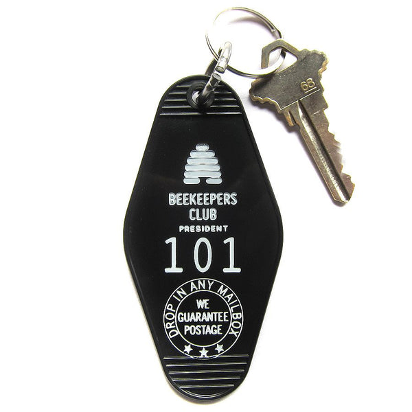 BEEKEEPERS CLUB MOTEL VINTAGE KEY TAG - BLACK WITH WHITE BEEHIVE ICON