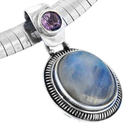 Amethyst and Rainbow Moonstone Sterling Silver Slide Pendant