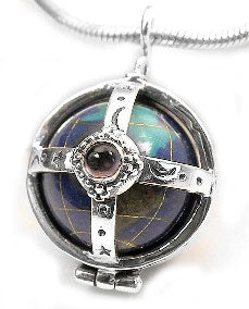 Sterling Silver Multi-Stone Caged Earth Globe Pendant