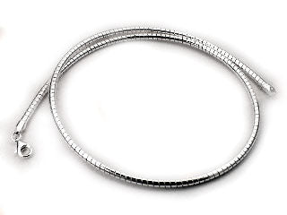 Sterling Silver 3mm Round Omega Chain Wire Necklace