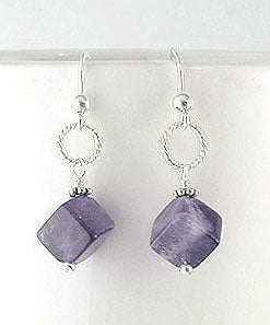 Cubed Amethyst Gemstone Bead Drops Sterling Silver Hook Earrings