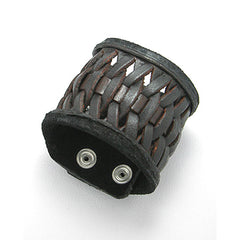 "Woven Dark Brown Genuine Leather 2"" Wide Cuff Bracelet Wristband, 7.5"" - Silver Insanity"