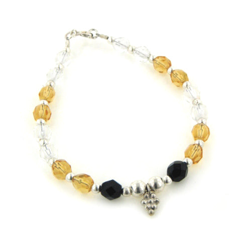 Yellow and Black Crystal Beaded Sterling Silver Bracelet 7""