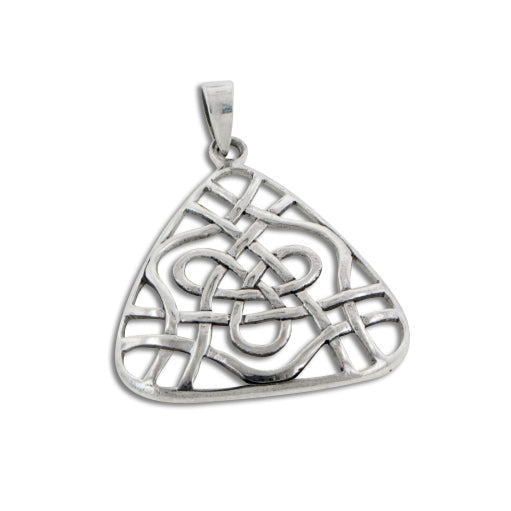 Open Celtic Trinity Knot Triangle Sterling Silver Pendant