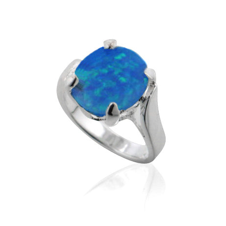 Large Oval Created Blue Opal Solitaire Sterling Silver Ring