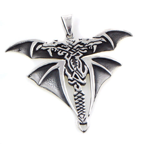 Gothic Styled Sterling Silver Double Headed Winged Dragon Pendant