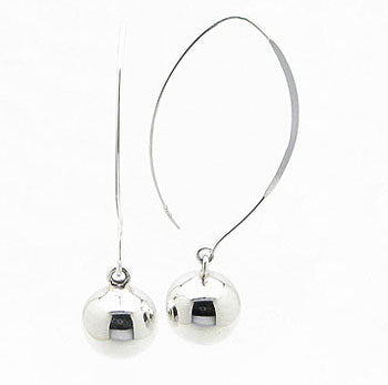 12mm Ball Drops Sterling Silver Shaped Ear Wire Hook Earrings