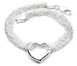 Sterling Silver Multi Strand Chain and Open Heart Bracelet - 7.5""