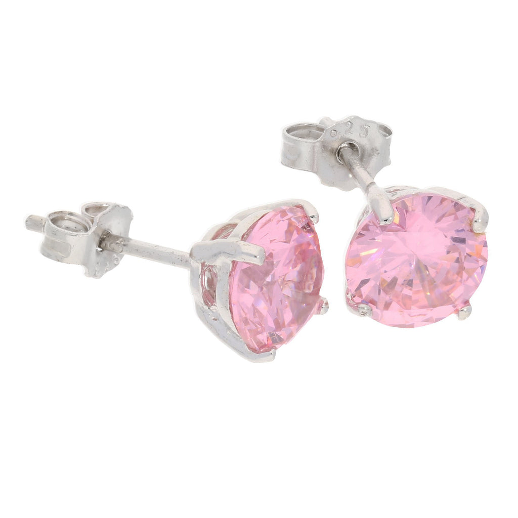 7mm Sterling Silver Pink Ice Round CZ Stud Post Earrings