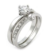 Sterling Silver Solitaire Wedding Ring Band Set - Silver Insanity