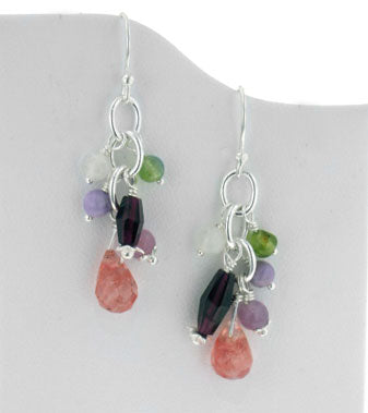 Sterling Silver Gemstone Beaded Hook Earrings with Cherry Quartz Briolette Drops