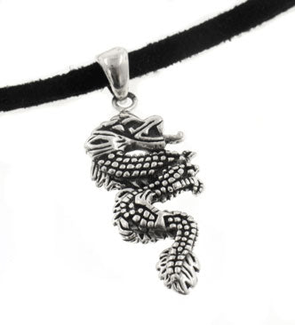 Sterling Silver Serpent Dragon Pendant on Adjustable Black Suede Cord Necklace