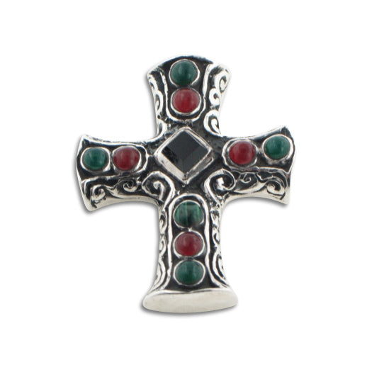 Black Onyx w/ Green Agate Sterling Silver Cross Pendant