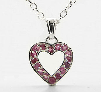 "Genuine Ruby Heart Pendant Sterling Silver 16"" Necklace"