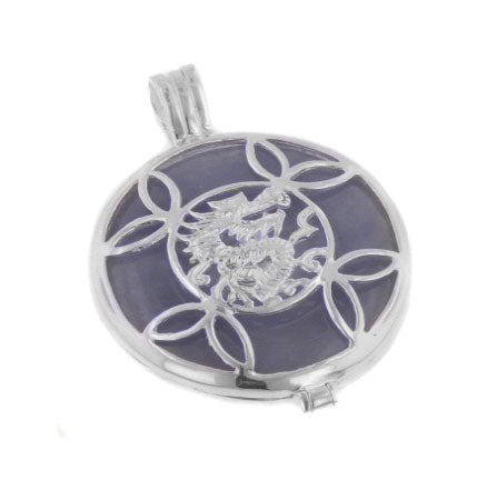 Asian Dragon and Lavender Jade Sterling Silver Pendant