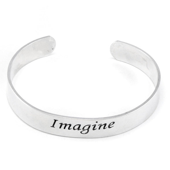 Imagine Inspirational Message Silver Tone Metal Adjustable Cuff Bracelet