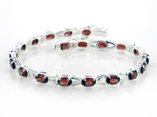 10cttw Sterling Silver Deep Red Garnet Tennis Bracelet - 7""