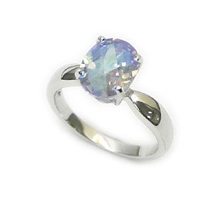 Ring of Twilight Shadows - Aurora Borealis Crystal Sterling Silver