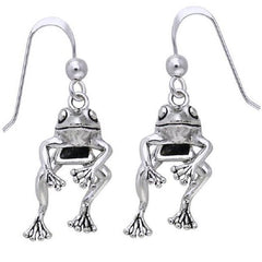 Moveable Detailed Sterling Silver FROG Face and Legs Hook Earrings