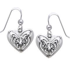 Celtic Knot Eternal Heart Sterling Silver Hook Earrings - Silver Insanity