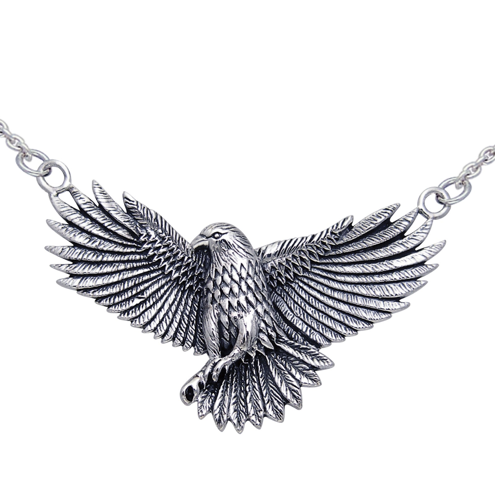 "Detailed Sterling Silver Native American Indian Large Eagle Necklace 18"" - Silver Insanity"