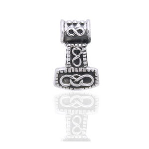 Small 3D Nordic Viking God Thor's Hammer Sterling Silver Slide Pendant