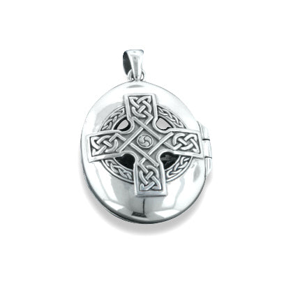 Celtic Ancient Sun Cross Large Oval Locket Pendant in Sterling Silver