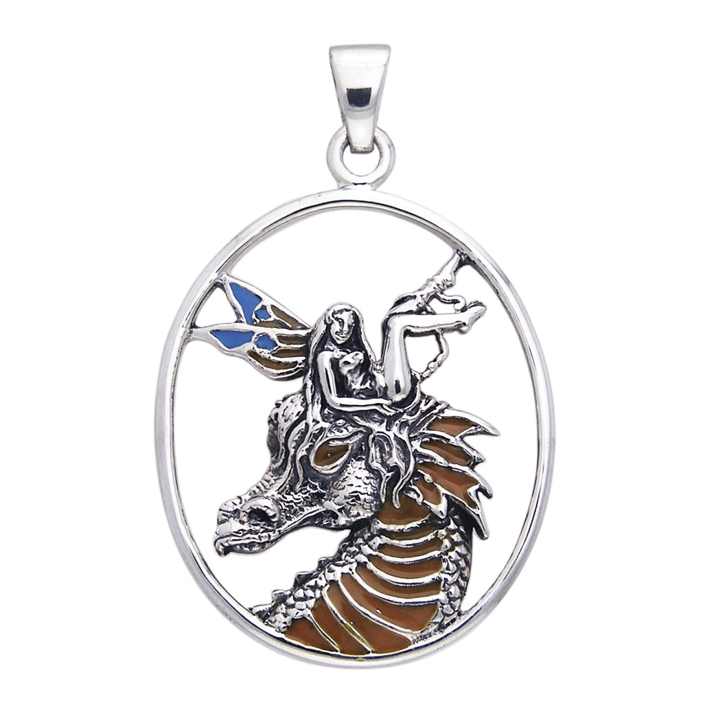 Dragon Fae Blue - Fairy on Dragon Head Sterling Silver Pendant by Selina Fenech