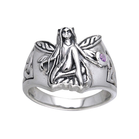 Sterling Silver Celtic Knot Fairy Amethyst Ring