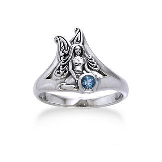 Detailed Fairy Sterling Silver Faery and Genuine Blue Topaz Ring