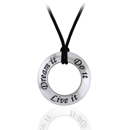 Dream, Do, Live It Affirmation Charm Sterling Silver Necklace