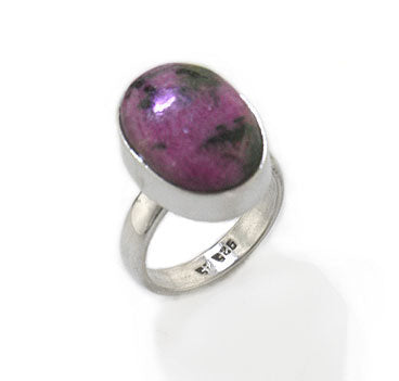 Genuine Pink/Black Rhodonite Stone Sterling Silver Ring